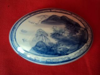 Old Chinese Blue And White Hand Painted Porcelain Covered Box,  Great photo