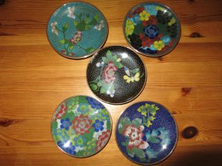 5 Antique Late 19th Century Chinese Cloisonne Dishes photo