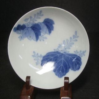 F221: Japanese Old Nabeshima Ware Blue - And - White Porcelain Small Plate. photo