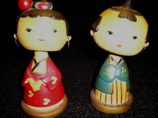 Japanese Hand Made Bobble - Head Dolls - Vintage - Set Of Two photo