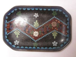 Small Antique Japanese Cloisonne Tray Floral Handmade 1880 - 1900 Nr 2975 photo