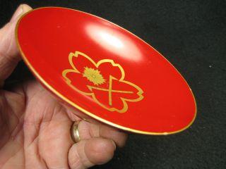 Vintage Japanese Lacquer Makie Sakazuki Sake Cup Cherry Fireman ' S Crossed Ax photo