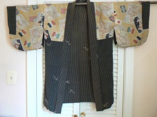 Jk - 110 Woman ' S Japanese Kimono Haori Jacket Pre - Wwii Antique Maps photo