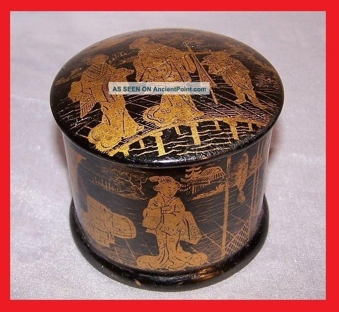 Antique Asian Chinese Or Japanese Famille Verte Gold Decor Wooden Box With Lacqu Boxes photo