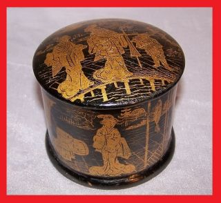 Antique Asian Chinese Or Japanese Famille Verte Gold Decor Wooden Box With Lacqu photo