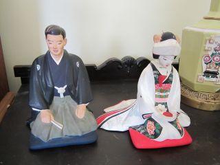 Hakata Oriental Groom Man Bride Oriental Lady Bride Pair Japanese Uraski Crane photo