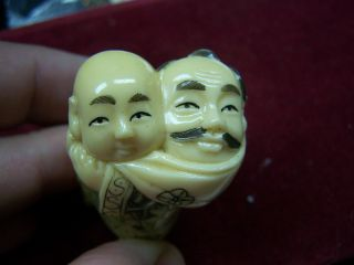 Vintage Two Headed Netsuke Figurine From Old Timer ' S Collection photo
