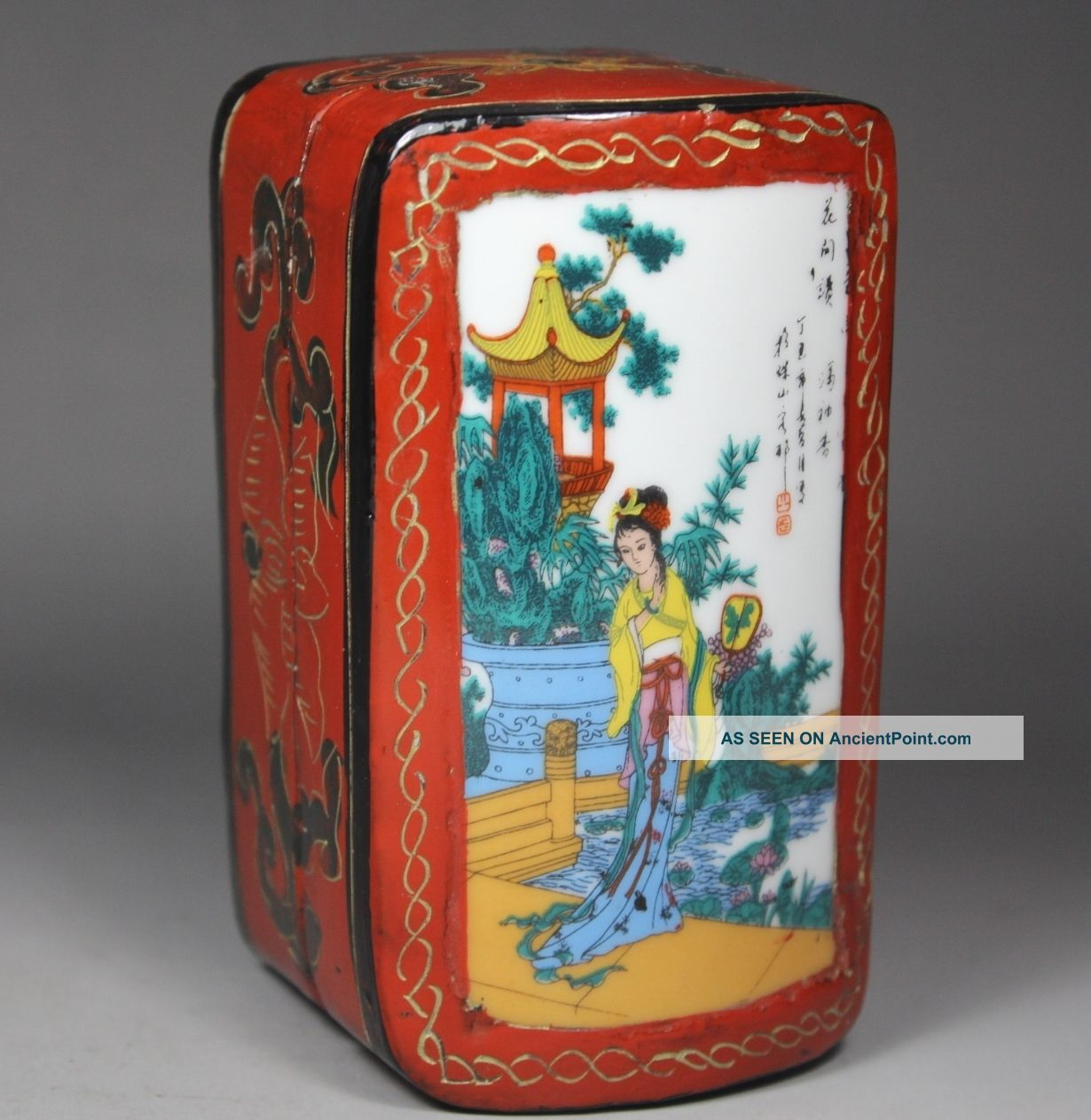 Chinese Handwork Wood Flower Belle Old Jewel Case Boxes photo