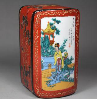 Chinese Handwork Wood Flower Belle Old Jewel Case photo