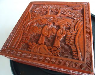 Old Guaranteed Carved Antique Cinnabar - Chinese Square Box Cliff Landscape 5x5x2 photo