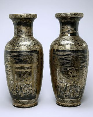 Pair Of Large Antique Japanese Gilded Vases photo