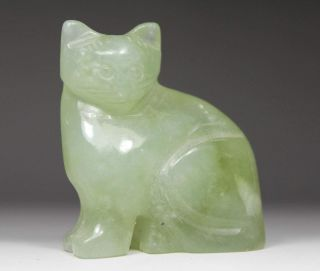 Chinese Old Jade Wonderful Handwork Carving Lovely Cat Statue photo
