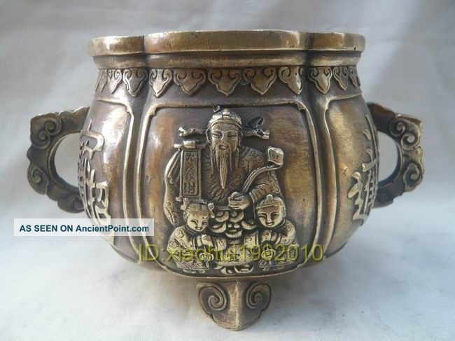 Chinese Old Brass Hand Carved Treasure Bowl Incense Burner Buddha photo
