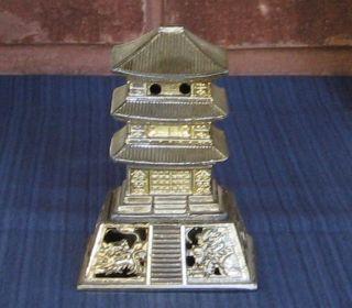 Antique Style Metal Pagoda Incense Burner Dragon Japan China Gold 19th Buddha photo
