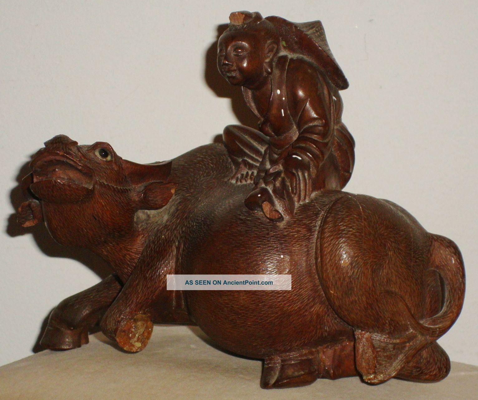13.  3 Oz.  5x7 Wood Carved Chinese Man Sitting Riding On Ox Figurine Glass Eyes Buddha photo