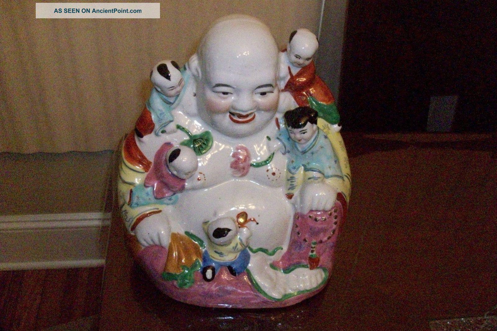 Chinese Asian Laughing Buddha With Childern Buddha photo