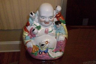 Chinese Asian Laughing Buddha With Childern photo