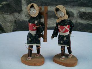 Pair Of Vintage Japanese Female Villager Dolls,  Look photo