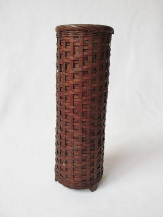 Japanese Vintage Wooden Bamboo Vase W/tube; Tasteful Knitting Work/ 453 photo