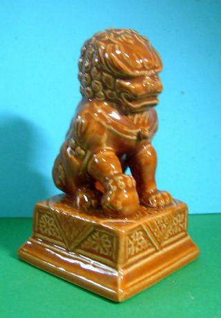 Vintage Jingdezhen Porcelain Rare Foo Dog On Pedestal C Mid 1900s U photo