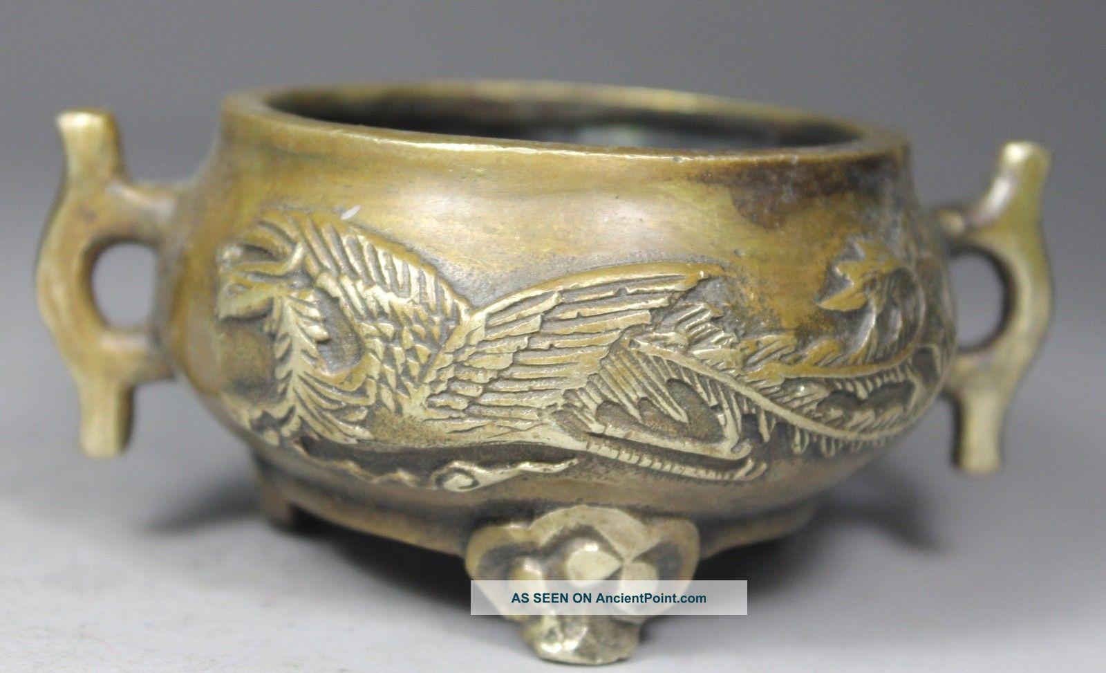 Chinese Old Brass Wonderful Handwork Carved Dragon/ Phoenix Incense Burner Buddha photo