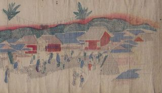 Orig Japanese Woodblock Print Scroll Festivals 19thc photo