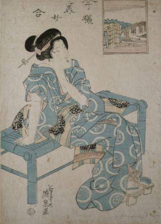 An Rare Keisai Eisen (渓斎 英泉,  1790 – 1848) Japanese Ukiyo - E Artist photo