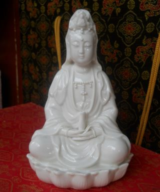 Chinese Famous Dehua Porcelain Statue Of The Goddess Of Mercy photo
