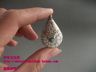 Js740 Chinese Tibetan Silver Handmade Dzi Beads Pendant photo