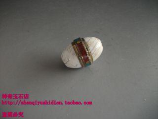 Js741 Chinese Tibetan Handmade Mosaic Brass Dzi Beads Pendant photo