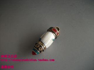 Js742 Chinese Tibetan Handmade Mosaic Brass Dzi Beads Pendant photo