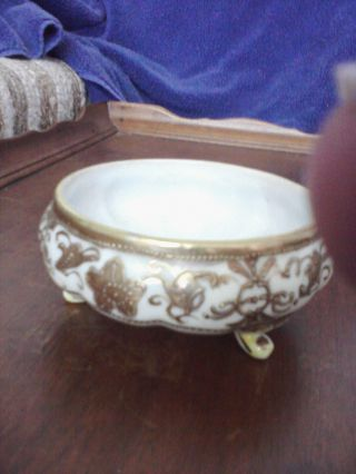 Antique Nippon 3 Footed Gold Trimmed Bowl photo