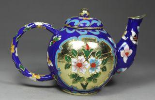 Chinese Handwork Cloisonne Flower Old Tea Pot photo