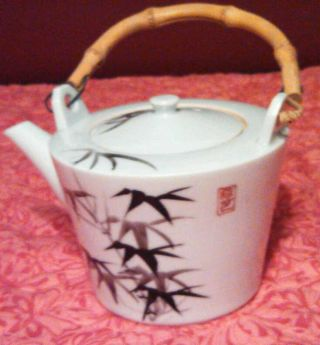 Vintage Hand Painted Japan Teapot W/bamboo Handle ~ photo