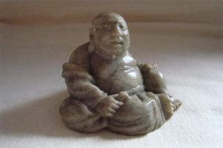 Vintage Chinese/japanese Handcarved Soapstone Figure Of A Buddha. photo