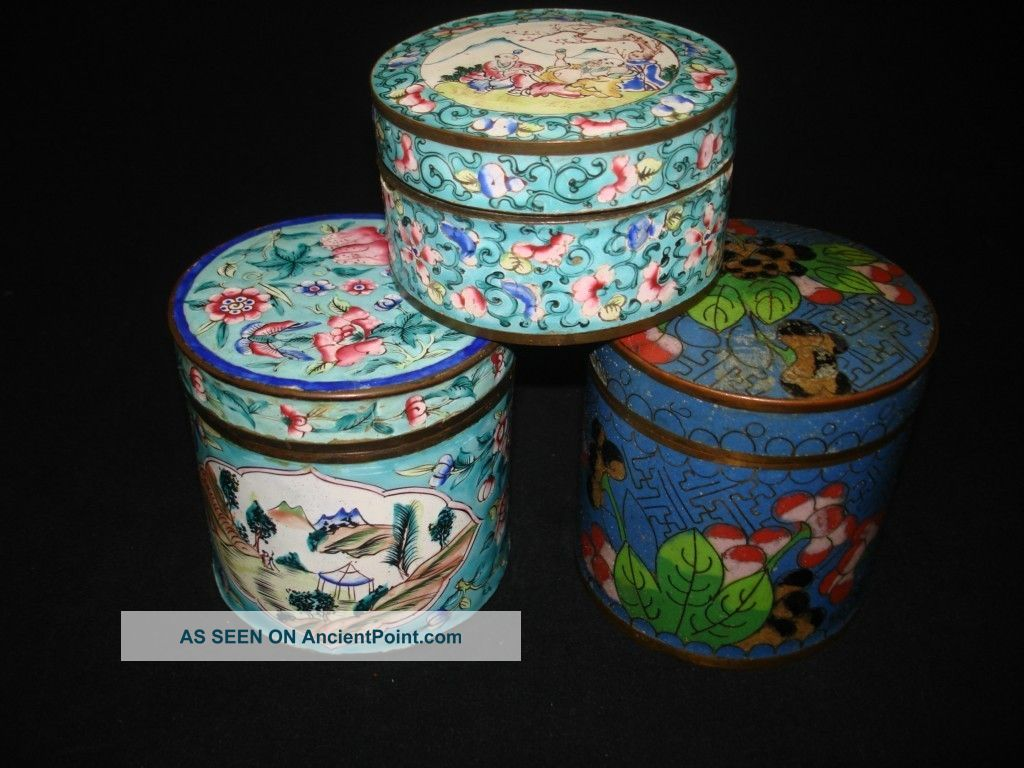 Three Chinese Antique Cloisonne Boxes At One Price Boxes photo