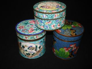 Three Chinese Antique Cloisonne Boxes At One Price photo