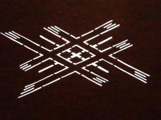 Is327 Japanese Ise Katagami Kimono Stencil Pattern Print Cross Diamond Lines Nr photo