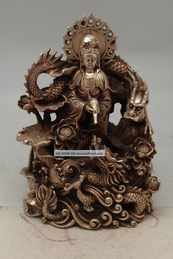 Oriental Chinese Bronze Guanyin With Two Dragons - Silver Patina Buddha photo