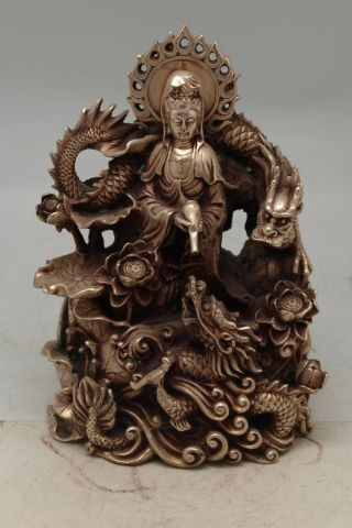 Oriental Chinese Bronze Guanyin With Two Dragons - Silver Patina photo