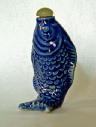 Antique Chinese Snuff Bottle,  Porcelain Blue Fish photo