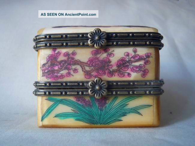 Chinese Handwork Hand - Painted Old Ox - Bone Jewel Box Boxes photo