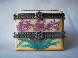 Chinese Handwork Hand - Painted Old Ox - Bone Jewel Box photo