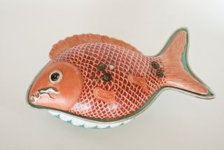 Antique Chinese Fish - Shaped Food Dish photo