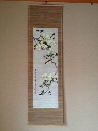 164 ~white Magnolia And A Sparrow~ Antique Hanging Scroll photo