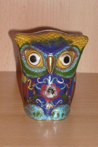 Chinese Cloisonne Enamel Owl photo