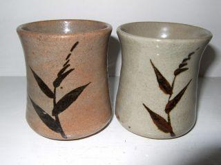 Two Vintage Japanese Unomi Pottery Tea Bowls photo