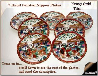 7 Antique Hand Painted Nippon Plates Heavy Gold Geisha Girls Scenic Dishes photo