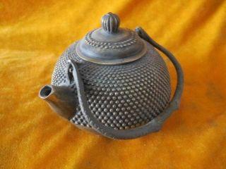 Chinese Bronze Teapot Carven Pearl Unique Heavy 06 photo