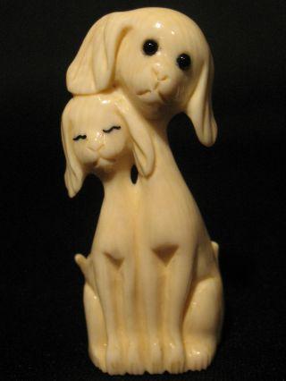 Japanese Ox Bone Okimono Netsuke Two Dogs Couple Enamel Eyes,  Signed photo